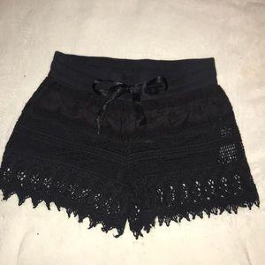 Black textured shorts